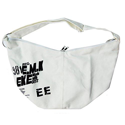 AiSi Damen Canvas große Schultertasche Umhängetasche Shopper Strandtasche Einkaufstasche Weiß Schwarz mit Reißverschluss Weiß