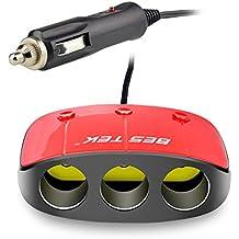 BESTEK 12V/24V 120W Ladrón Mechero Coche con 3 Encendedores y Interruptores Independientes y 2 USB 3,1A -Rojo