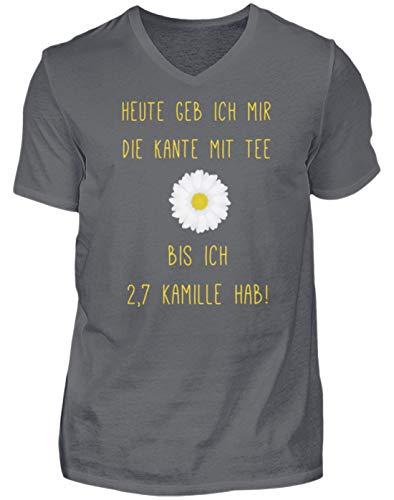Lustiger Spruch Witz Kamille Tee Alkohol Ironisch - Nicht nur für Teetrinker - Herren V-Neck Shirt -XL-Grauschwarz -