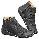 POLP Botas,Mujer Botines de Cuero Otoño Invierno Vintage Botines Mujer con Cordones Zapatos de...