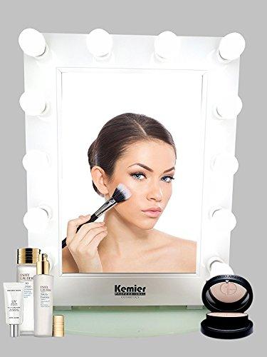 Kemier Natürlicher Tageslicht Makeup Spiegel mit LED-Dimmerbirne, Drehschalter Wand-Montage und Makeup Tischspiegel,10-faches Vergrößerungsspiegel Kosmetikspiegel-Weiß