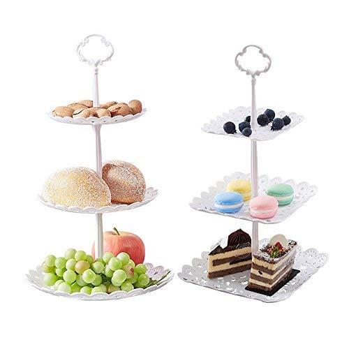 Agyvvt 2Set von 3-Tier-Kuchen Ständer und Fruit Teller Cupcake Kunststoff Ständer Weiß für Kuchen Desserts Fruits Candy Buffet Stehen für Hochzeit & Home & Geburtstag Servierplatte (Stehen Buffet Candy)