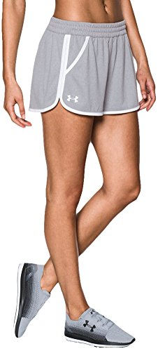 Under armour, tech short 2.0, pantaloncino, donna, grigio (carbon heather/pink shock/pink shock 090), m