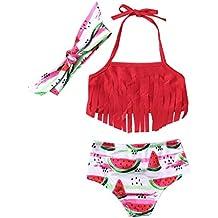 Waotier Traje De BañO para NiñA De Correa Borla Bikini Estampado SandíA Dividida Bikini Ropa De