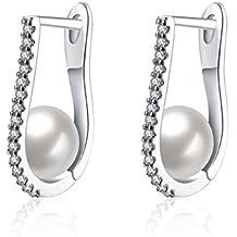 Meilanty pendientes joyas de las damas de cobre aretes de platino plateado Tamaño 13 mm x 2 mm con perla y zirconia
