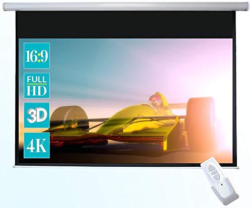 celexon Basic elektrische Beamer-Motor-Leinwand optimal für Heimkino, Präsentation, Schule und Business inkl. Fernbedienung - 200 x 113cm - 16:9