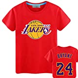 Shocly Manica Corta T-Shirt Maglietta Los Angeles Lakers No.23 James Kobe Bryant Pallacanestro Club Round Neck da per Uomo,Red,S/165CM
