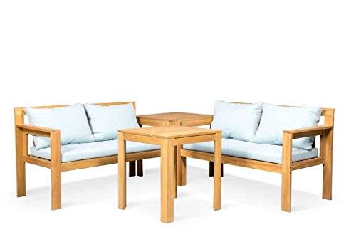 LANTERFANT - Gartenset BO, Teakfarbe, Grau, Gartemöbel-Set, Sitzgruppe, 4 Sitze, Sitzgarnitur,...