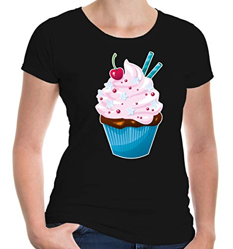 buXsbaum® Damen Kurzarm Girlie T-Shirt bedruckt Fairy-Cake | cupcake kleiner Kuchen | S black-z-direct ()