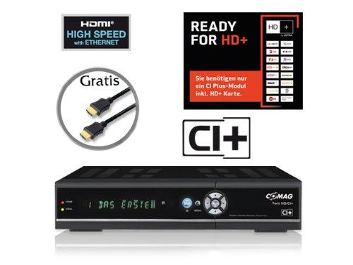 COMAG digitaler Satelliten Receiver HD-Twin-Tuner (CI+, HDMI, USB 2.0, PVR ready, 1080p (Senderabhängig), 1080i, 720p, 576p) inkl. Qualitäts-HDMI-Kabel für HD+ schwarz