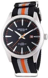 Mike Ellis New York Herren-Armbanduhr XL Analog Quarz Textilband 17993/2