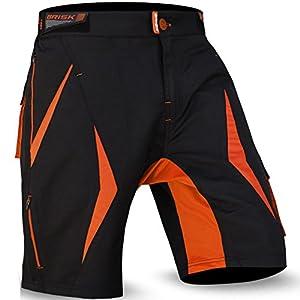 cortocircuitos de MTB a paso ligero, Coolamax acolchada y desmontable forro interior, Estilo libre del tamaño adulto (Black /Orange 2003, M)