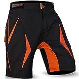 cortocircuitos de MTB a paso ligero, Coolamax acolchada y desmontable forro interior, Estilo libre del tamaño adulto (Black /Orange 2003, L)