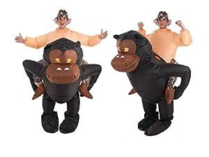 Creaciones Llopis- Disfraz Adulto Hinchable Gorila y Aventurero, Multicolor (9464)