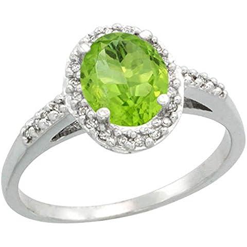 Revoni-Anello da donna in argento sterling 925/1000 1,17 kt, peridoto, diamanti, Ovale, brillante 0,111 ct