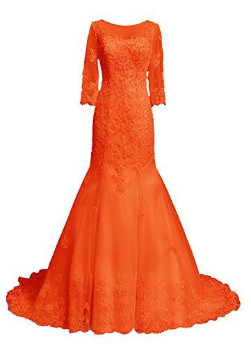 Dresstells, Robe de mariée traîne moyenne tulle dentelle forme princesse emperlée manches 3/4 Orange