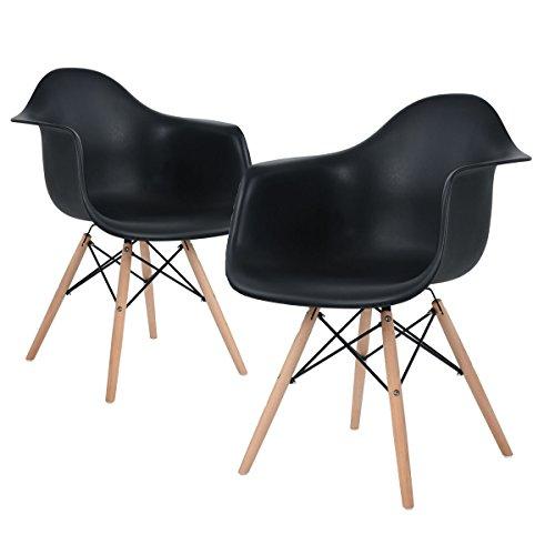 2 Schwarze Stühle (EGGREE Lot von 2 Esszimmerstuhl, Retro Stuhl Beistelltisch mit solide Buchenholz Bein - Schwarz)