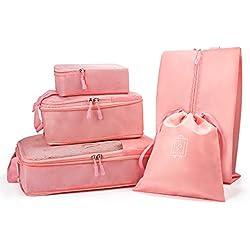Funria 5 Set de Organizador de Equipaje, Organizadores para maletas Impermeable Organizador de Maleta Bolsa para Ropa de Viaje, Material Nylon (Rosado)