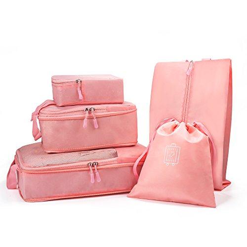 Funria 5 Stück Premium Packwürfel, Kleidertaschen Packtaschen ltra-Weichte Koffer Organizer Set, Reise-Zubehör Kofferorganizer Ideal für Reise, Seesäcke, Handgepäck und Rucksäcke (Rosa) -