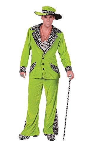 Zuhälter Kostüm in Hellgrün mit Hut Karneval Fasching Verkleidung Herren Small