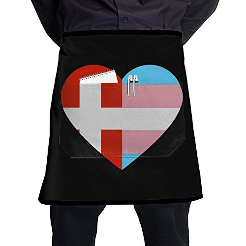 Aprons for Sale Switzerland Flag Transgender Pride Flag Heart Short Aprons Men & Women Manicure Store Cafe Sleeveless Anti-Fouling Overalls Aprons Portable Pocket Design -