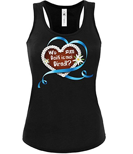 love-all-my-shirts Lebkuchenherz Wo zum deifi is MEI Dirndl? 3348 Oktoberfest Outfit Artikel Kostüm Tshirt verkleidung Wiesn Frauen Damen Tank Top Schwarz XL