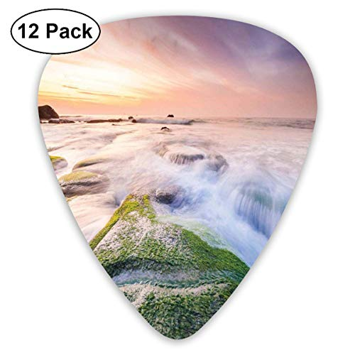 Celluloid Guitar Picks - 12 Pack,Abstract Art Colorful Designs,Malaysia Landmark Nature Wonders Photo Of Fountains Stream Mossy Rocks With Ombre Sky,For Bass Electric & Acoustic Guitars. -