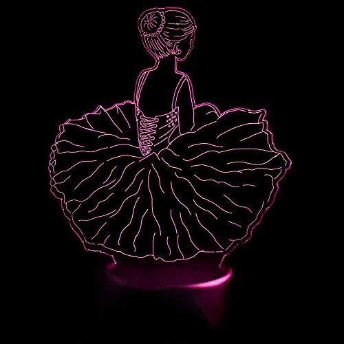 YDBDB Nachtlicht 3D Led Visuelle Ballett Mädchen Modellierung Nachtlichter Usb Dance Rock Tischlampe Baby Schlaf Leuchte Schlafzimmer Dekor Kinder Geschenke -