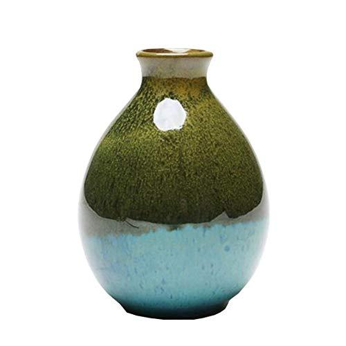 Mini chinesische Keramik Blumenvase Bud Vase Weinflasche, ideales Geschenk für Home Office, Dekor, Tischvasen, Bücherregal Ornamente Flaschen, Erbsengrün