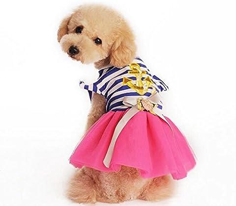 Dogs Kingdom Pet Cat Sailor Princess Dog Sailor Tutu Dress Doggie Stripe Ribbon Skirt Puppy Clothes Dog Dress Apparel