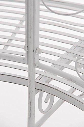 CLP Metall Eckbank / Gartenbank LORENA, Baumbank Design nostalgisch antik, Eisen lackiert, ca. 140 x 60 cm Antik Weiß - 7