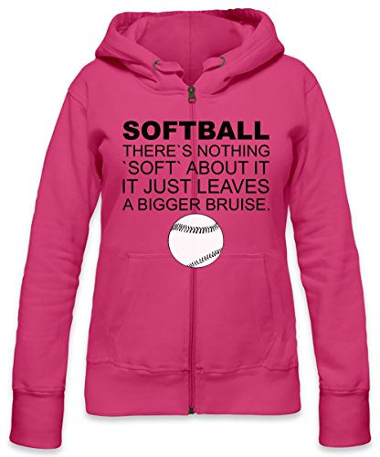 Softball There's Nothing Soft About It Slogan Womens Zipper Hoodie Small -