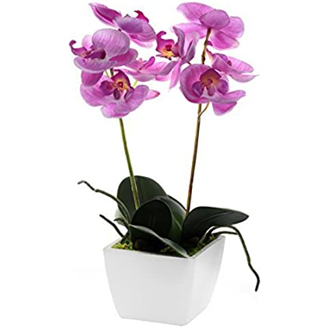 Mini Orchidea artificiale in vaso, 34 cm, vaso (tutti i colori), Pale Pink, 34cm