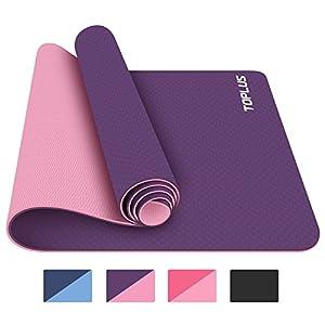 TOPLUS Gymnastikmatte, Yogamatte Yogamatte Gepolstert & Rutschfest für Fitness Pilates & Gymnastik mit Tragegurt – Maße 183cm Länge 61cm Breite – Lila & Pink