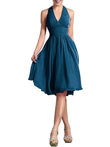PRTS Neckholder Brautjungfernkleider Kurz Chiffon Rückenfrei Abendkleid Festkleid Partykleid Cocktailkleid Jade EUR58 (Jade Brautkleider)