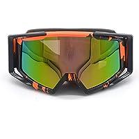 Evomosa Adulte Motocross Moto ATV Off-road Lunettes de soleil de lunettes de snowboard/ski casque de vélos anti UV (Coloré objectif: Noir + Jaune fluo) 2dZIl