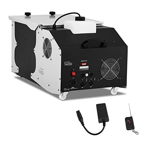 Singercon CON.FM-1400 Nebelmaschine mit Funk Fernbedienung Bodennebelmaschine DMX Rauchmaschine 1400W 566 m³/min 2,4 Liter Fog machine