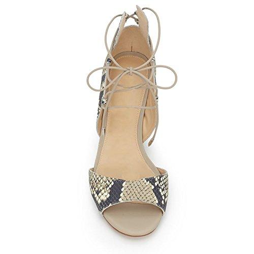 Damen Peep Toe Sommer Sandalen High-Heels Blockabsatz Knöchelriemchen PU-Schlangenhaut