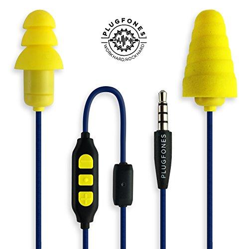 """PlugFones, Ohrstöpsel der """"In Guardian""""-Serie mit eingebauten Ohrhörern, aus Schaumstoff und Silikon, gelb"""