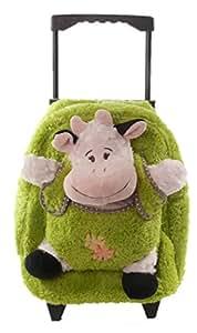 Inware 6234 - 3in1 Petit Trolley Vache pour les Enfants, Sac à Roulettes, Peluche Vache, Veau