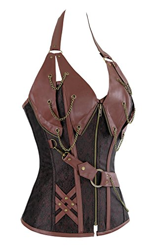 Charmian Women's Spiral Steel Boned Steampunk Goth Halter Leather Bustier Corset Heavy-Strong-Steel-Halter-Braun