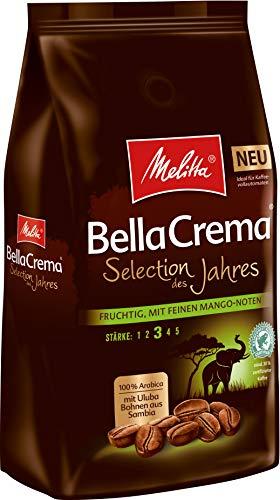 Melitta Ganze Kaffeebohnen, 100% Arabica, vollmundig mit Mango-Noten, Stärke 3, BellaCrema Selection des Jahres 2019, 1kg
