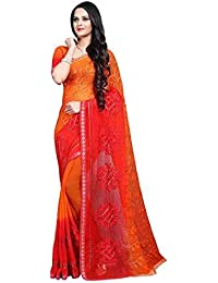 628c9c6b8051d5 Craftsvilla Women's Chiffon Embroidered Orange Saree With Blouse Piece  (Mcraf66845104670_Saree)