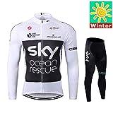 Sports Thriller Rider XiXiMei EU Stil 7 Mountain Bike Fahrradbekleidung für Herren MTB Fahrrad Radtrikot Langarm Thermisch Warm Jacke und Radhose Lang Anzug Large X-Large