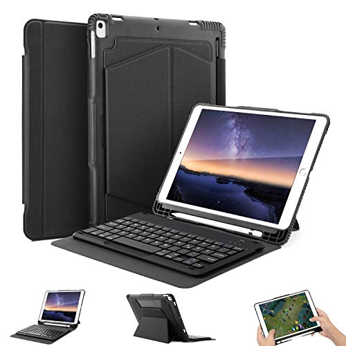 OMOTON iPad 10.5 Zoll Tastatur Hülle für iPad Air 2019 (3. Gen) / iPad Pro 2017 Schutzhülle mit Apple-Stifthalter in deutsches Layout, tragbare iPad Keyboard