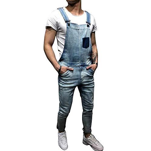 Shujin Herren Retro Lange Jeans Latzhose Denim Overalls Skinny Fit Stone-Washed zerreißen Arbeitshosen Jumpsuit