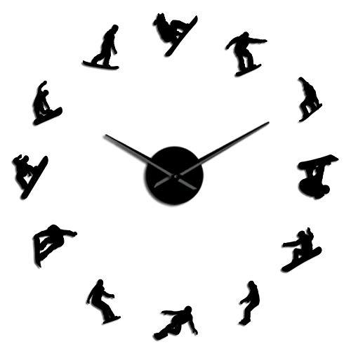 DFRTY Acrylwand clockWinter Sport Snowboarden Spiegeleffekt Wandkunst Aufkleber Wohnkultur Snowboarder Verschiedene Körperhaltungen Rahmenlos Große Uhr Uhr -