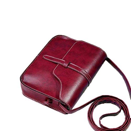 Schultertasche Damen Sonnena Frauen Vintage Einfarbig PU-Leder Handtasche Elegant Mini Einzelne Umhängetasche Damentasche Ledertasche Outdoor Messenger Tasche für Frauen (Rot)