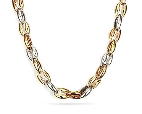 Vnox En acier inoxydable Tri-Tone frein lien chaîne de collier pour hommes 10.0mm,or,or rose,argent,22 pouces