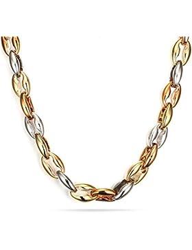 Vnox Edelstahl Tri-Tone Curb Link Kette Halskette für Männer 10.0mm Gold Rose Gold Silber,56cm